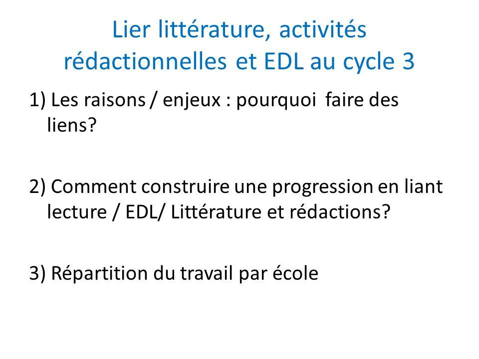 Lier littérature, activités rédactionnelles et EDL au cycle 3 BO n°3 juin 2008 « La progression dans la maîtrise de la langue se fait selon un programme de lecture et décriture, de vocabulaire, de grammaire et dorthographe.