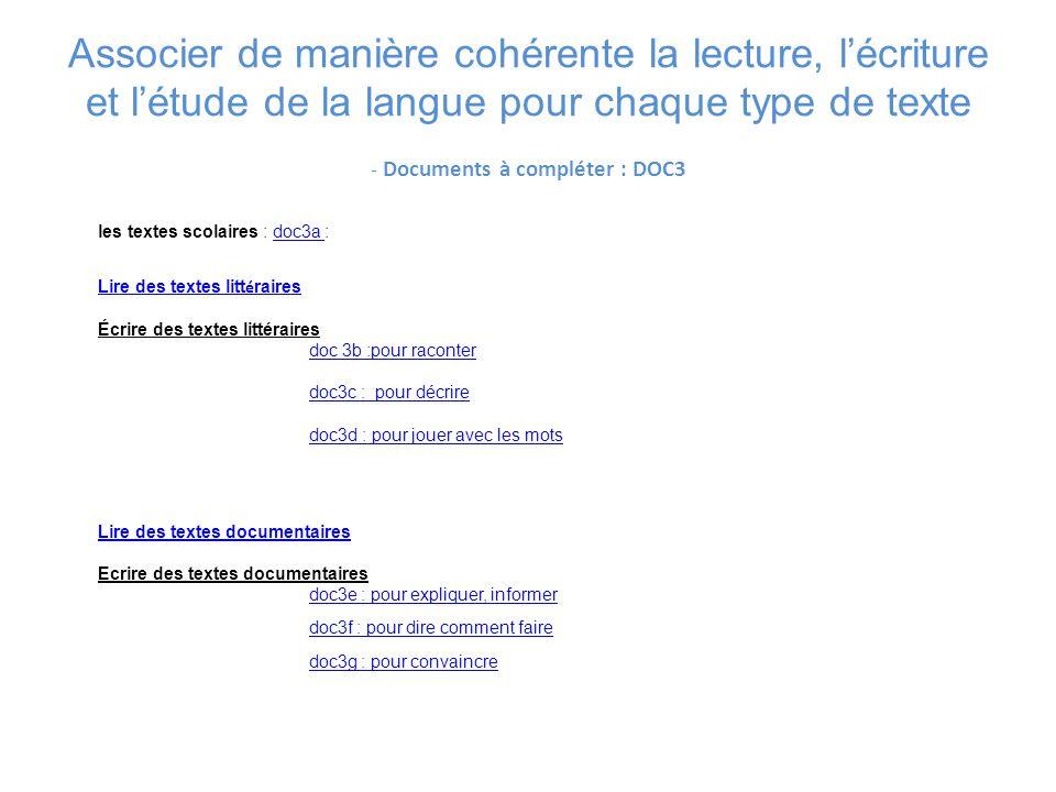 Associer de manière cohérente la lecture, lécriture et létude de la langue pour chaque type de texte - Documents à compléter : DOC3 les textes scolair
