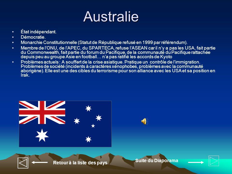 Tuvalu État indépendant Membre du Commonwealth, du forum du Pacifique, du SPARTECA, de la communauté du Pacifique, de lONU, a ratifié les accords de Kyoto Problèmes actuels Le pavillon bleu britannique, dont le champ est devenu bleu clair (qui représente l Océan Pacifique), est chargé avec neuf étoiles jaunes représentant les neuf îles de la nation (Nanumea, Niuiatao, Nanumanga, Nui, Vaitupu, Nukufetau, Funafuti, Nukulaelae et Niulakita).