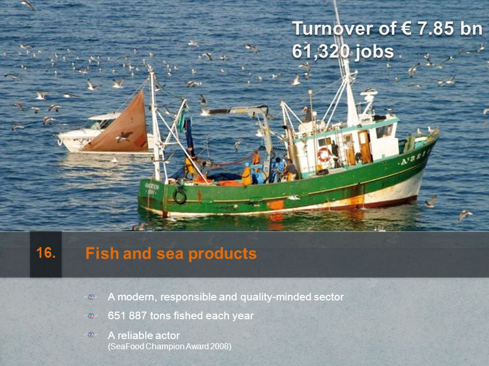 Turnover of 7.85 bn 61,320 jobs Fish and sea products A modern, responsible and quality-minded sector 651 887 tons fished each year A reliable actor (SeaFood Champion Award 2008) 16.
