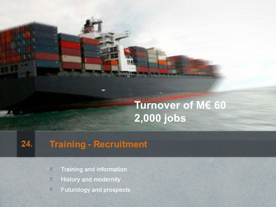 Turnover of M 60 2,000 jobs Training - Recruitment Training and information History and modernity Futurology and prospects 24.