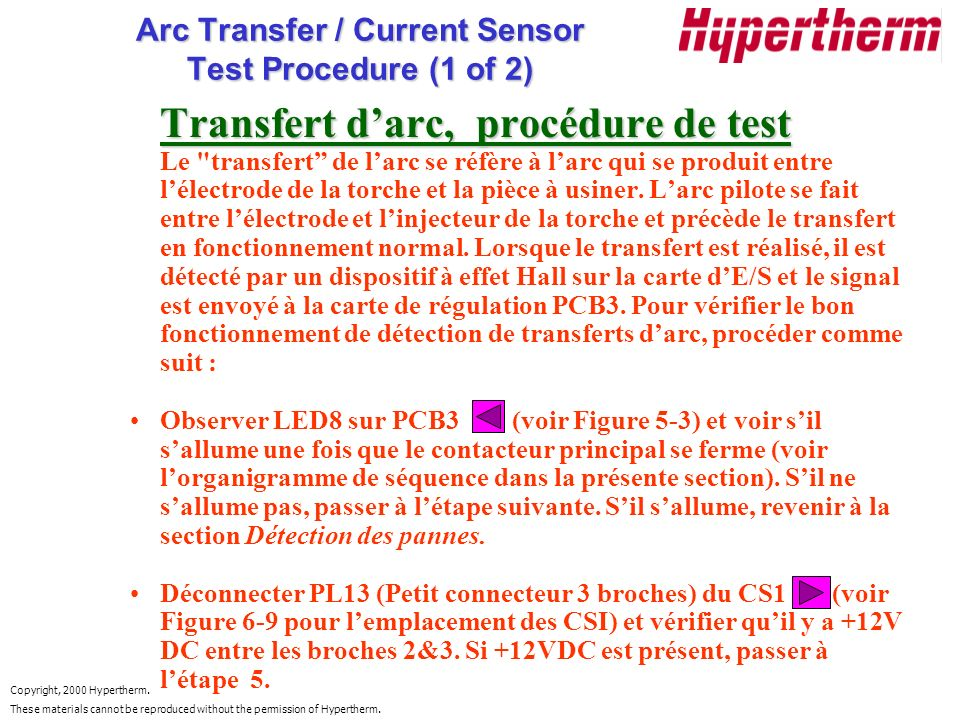 Copyright, 2000 Hypertherm. These materials cannot be reproduced without the permission of Hypertherm. Arc Transfer / Current Sensor Test Procedure (1