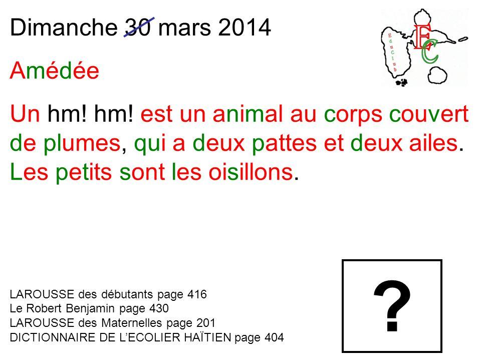Dimanche 30 mars 2014 Amédée Un hm. hm.