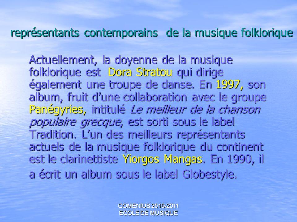 COMENIUS 2010-2011 ECOLE DE MUSIQUE représentants contemporains de la musique folklorique Actuellement, la doyenne de la musique folklorique est Dora