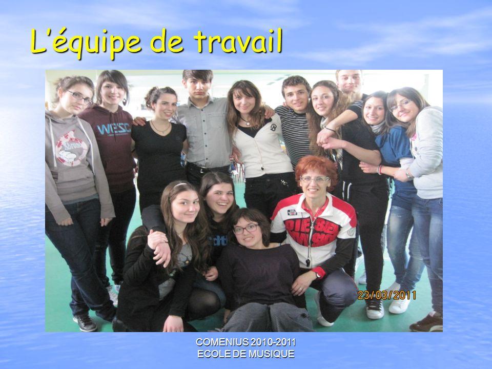 COMENIUS 2010-2011 ECOLE DE MUSIQUE Léquipe de travail