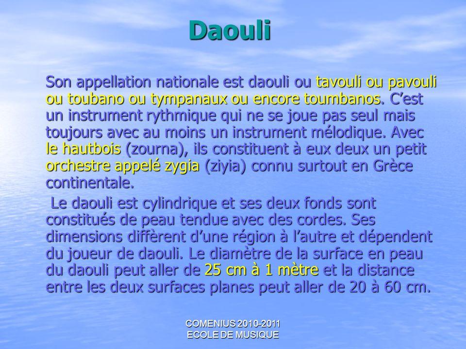 Daouli Daouli Son appellation nationale est daouli ou tavouli ou pavouli ou toubano ou tympanaux ou encore toumbanos. Cest un instrument rythmique qui
