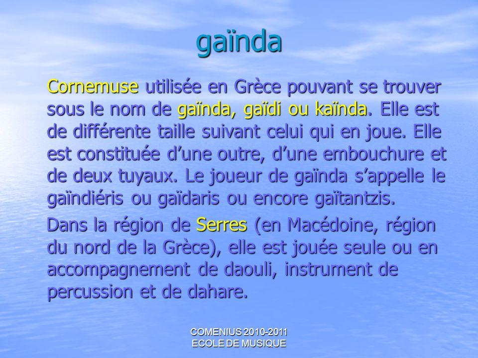 gaïnda Cornemuse utilisée en Grèce pouvant se trouver sous le nom de gaïnda, gaïdi ou kaïnda. Elle est de différente taille suivant celui qui en joue.