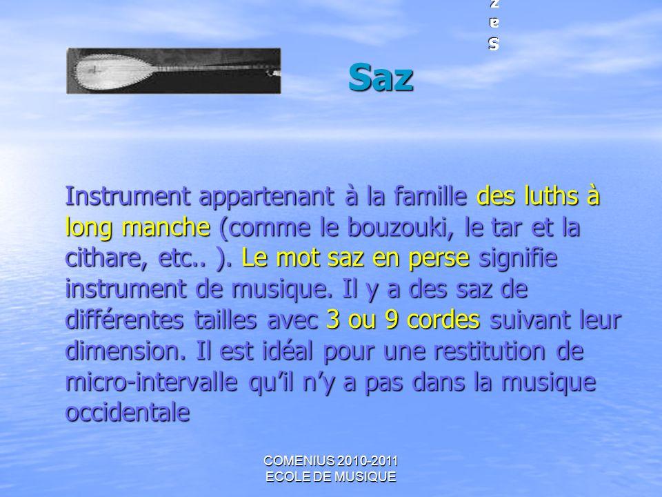 COMENIUS 2010-2011 ECOLE DE MUSIQUE Instrument appartenant à la famille des luths à long manche (comme le bouzouki, le tar et la cithare, etc.. ). Le
