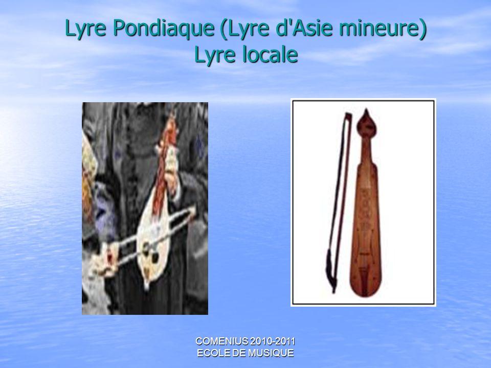 COMENIUS 2010-2011 ECOLE DE MUSIQUE Lyre Pondiaque (Lyre d'Asie mineure) Lyre locale