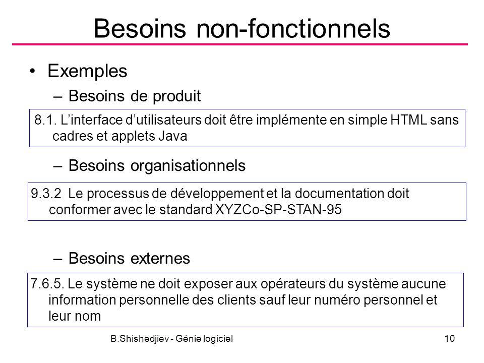 B.Shishedjiev - Génie logiciel10 Besoins non-fonctionnels Exemples –Besoins de produit –Besoins organisationnels –Besoins externes 8.1. Linterface dut