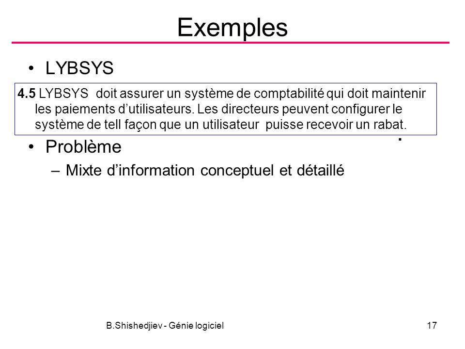 B.Shishedjiev - Génie logiciel17 Exemples LYBSYS Problème –Mixte dinformation conceptuel et détaillé 4.5 LYBSYS doit assurer un système de comptabilité qui doit maintenir les paiements dutilisateurs.