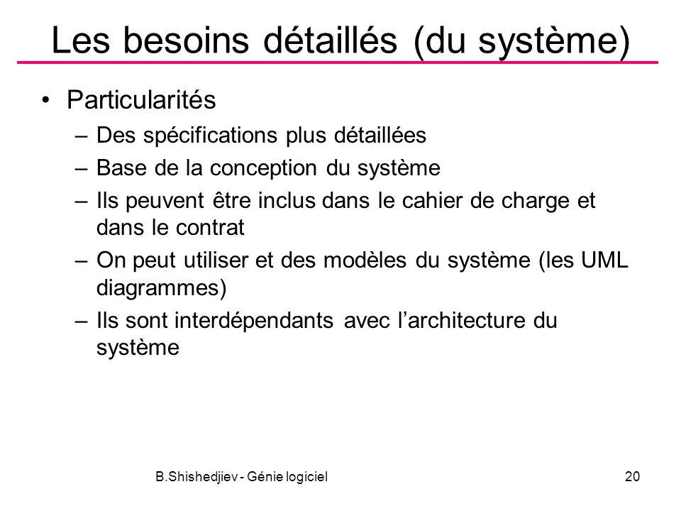 B.Shishedjiev - Génie logiciel20 Les besoins détaillés (du système) Particularités –Des spécifications plus détaillées –Base de la conception du système –Ils peuvent être inclus dans le cahier de charge et dans le contrat –On peut utiliser et des modèles du système (les UML diagrammes) –Ils sont interdépendants avec larchitecture du système