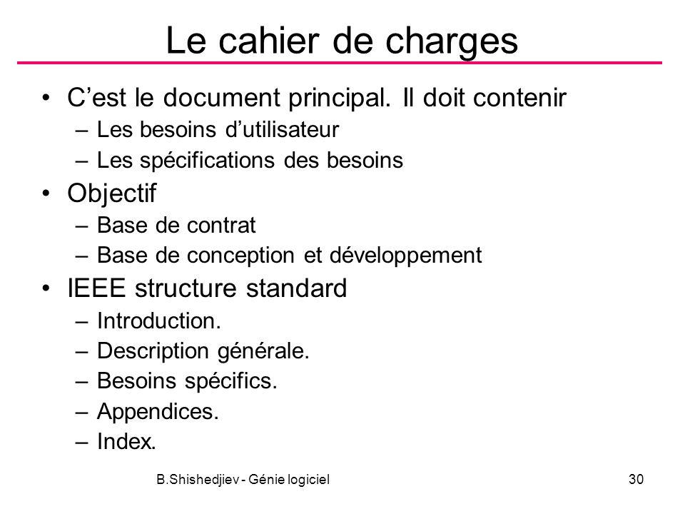 B.Shishedjiev - Génie logiciel30 Le cahier de charges Cest le document principal.
