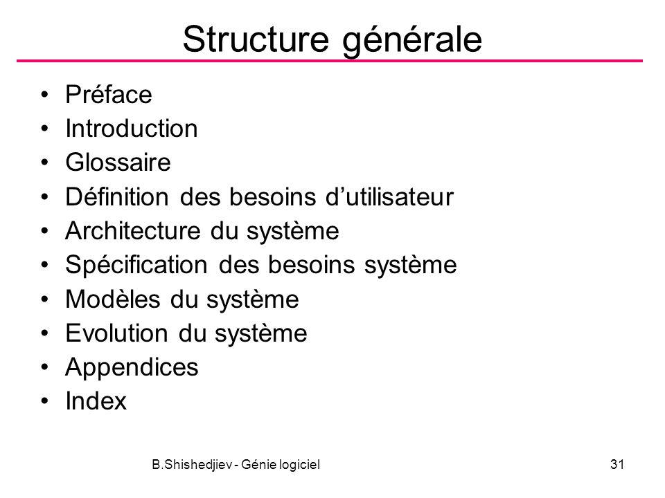 B.Shishedjiev - Génie logiciel31 Structure générale Préface Introduction Glossaire Définition des besoins dutilisateur Architecture du système Spécification des besoins système Modèles du système Evolution du système Appendices Index