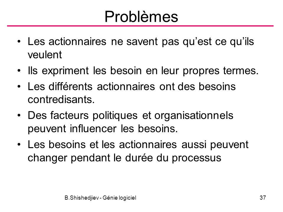 B.Shishedjiev - Génie logiciel37 Problèmes Les actionnaires ne savent pas quest ce quils veulent Ils expriment les besoin en leur propres termes. Les
