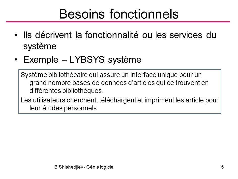 B.Shishedjiev - Génie logiciel5 Besoins fonctionnels Ils décrivent la fonctionnalité ou les services du système Exemple – LYBSYS système Système bibliothécaire qui assure un interface unique pour un grand nombre bases de données darticles qui ce trouvent en différentes bibliothèques.