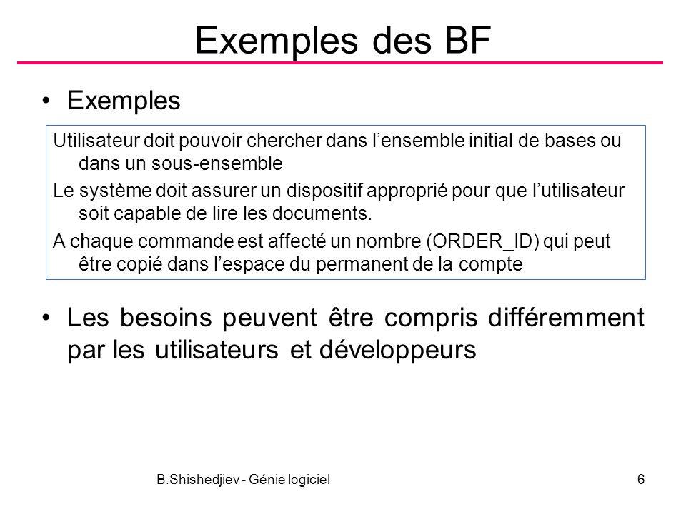 B.Shishedjiev - Génie logiciel6 Exemples des BF Exemples Les besoins peuvent être compris différemment par les utilisateurs et développeurs Utilisateu