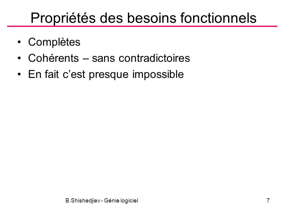 B.Shishedjiev - Génie logiciel38 Activités Découverte Classification et organisation Définir les priorités et négociation – résoudre les contradictions Faire la documentation