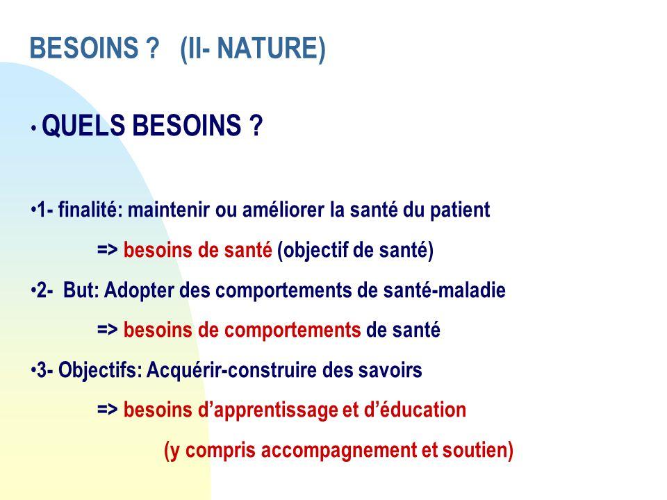 BESOINS ? (II- NATURE) QUELS BESOINS ? 1- finalité: maintenir ou améliorer la santé du patient => besoins de santé (objectif de santé) 2- But: Adopter