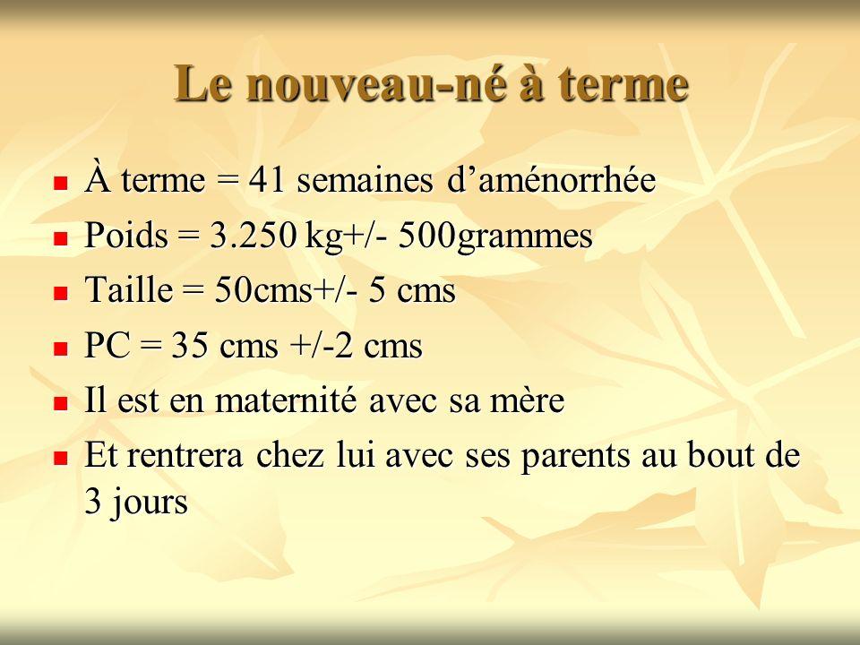 Le nouveau-né à terme À terme = 41 semaines daménorrhée À terme = 41 semaines daménorrhée Poids = 3.250 kg+/- 500grammes Poids = 3.250 kg+/- 500gramme