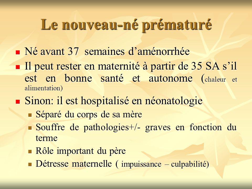 Le nouveau-né prématuré Né avant 37 semaines daménorrhée Né avant 37 semaines daménorrhée Il peut rester en maternité à partir de 35 SA sil est en bon