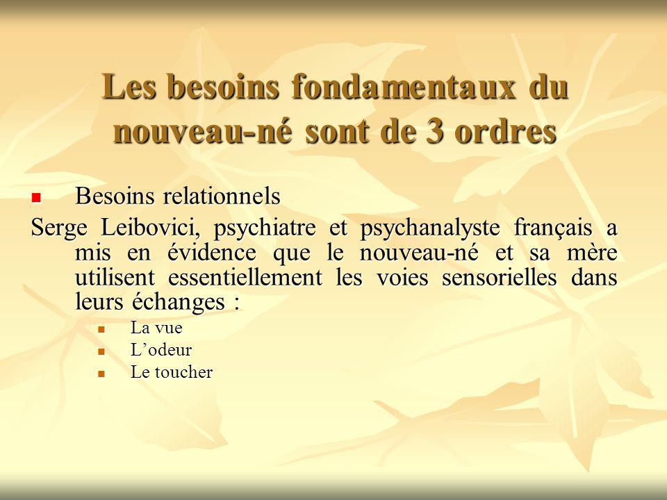 Les besoins fondamentaux du nouveau-né sont de 3 ordres Besoin dattachement Besoin dattachement Selon Bowlby, psychanalyste anglais, ce besoin est présent dès la naissance.