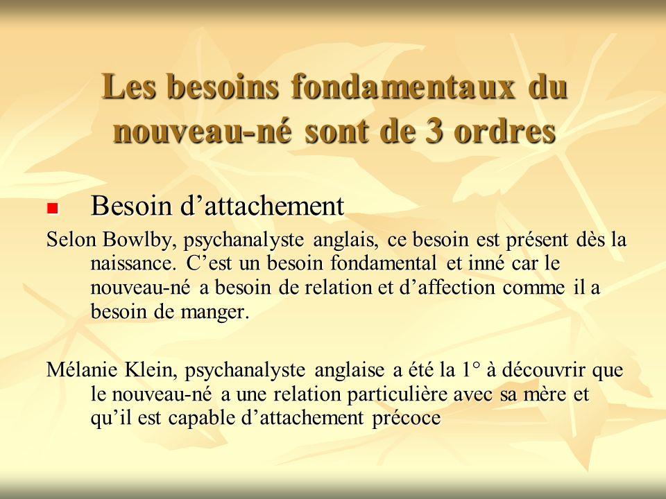 Les besoins fondamentaux du nouveau-né sont de 3 ordres Besoin dattachement Besoin dattachement Selon Bowlby, psychanalyste anglais, ce besoin est pré