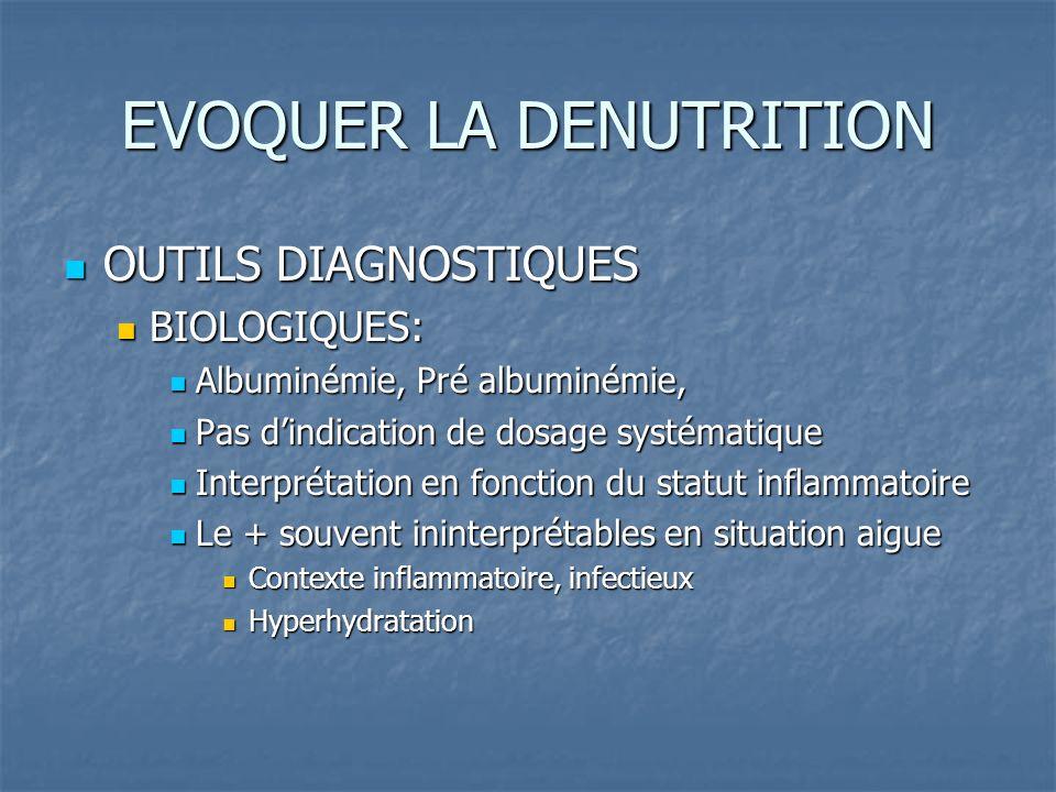 EVOQUER LA DENUTRITION OUTILS DIAGNOSTIQUES OUTILS DIAGNOSTIQUES BIOLOGIQUES: BIOLOGIQUES: Albuminémie, Pré albuminémie, Albuminémie, Pré albuminémie, Pas dindication de dosage systématique Pas dindication de dosage systématique Interprétation en fonction du statut inflammatoire Interprétation en fonction du statut inflammatoire Le + souvent ininterprétables en situation aigue Le + souvent ininterprétables en situation aigue Contexte inflammatoire, infectieux Contexte inflammatoire, infectieux Hyperhydratation Hyperhydratation