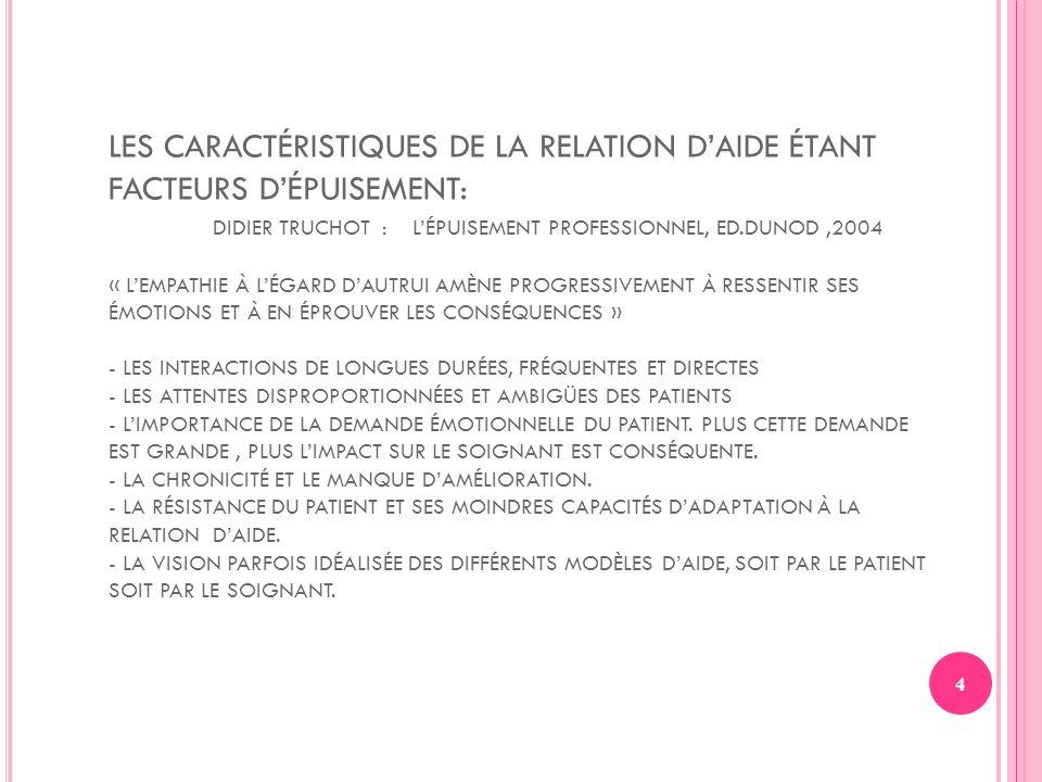 4 LES CARACTÉRISTIQUES DE LA RELATION DAIDE ÉTANT FACTEURS DÉPUISEMENT: DIDIER TRUCHOT : LÉPUISEMENT PROFESSIONNEL, ED.DUNOD,2004 « LEMPATHIE À LÉGARD
