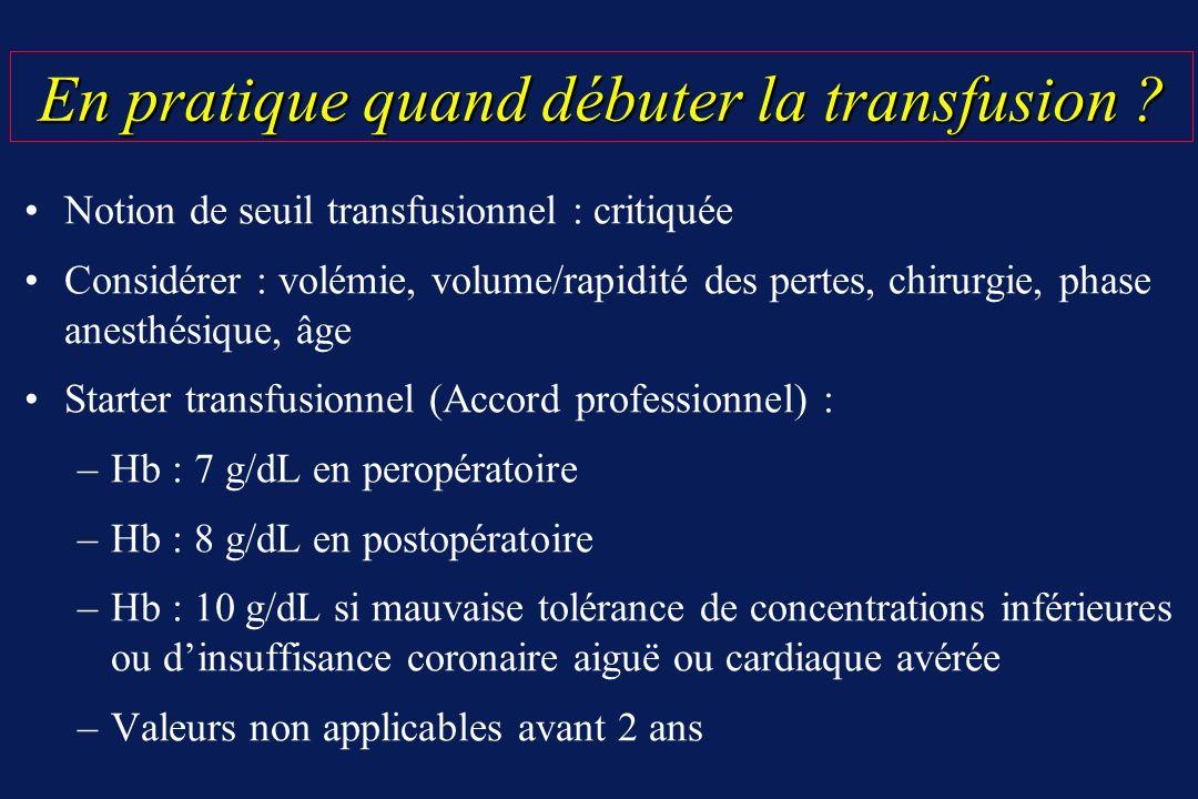 En pratique quand débuter la transfusion ? En pratique quand débuter la transfusion ? Notion de seuil transfusionnel : critiquée Considérer : volémie,