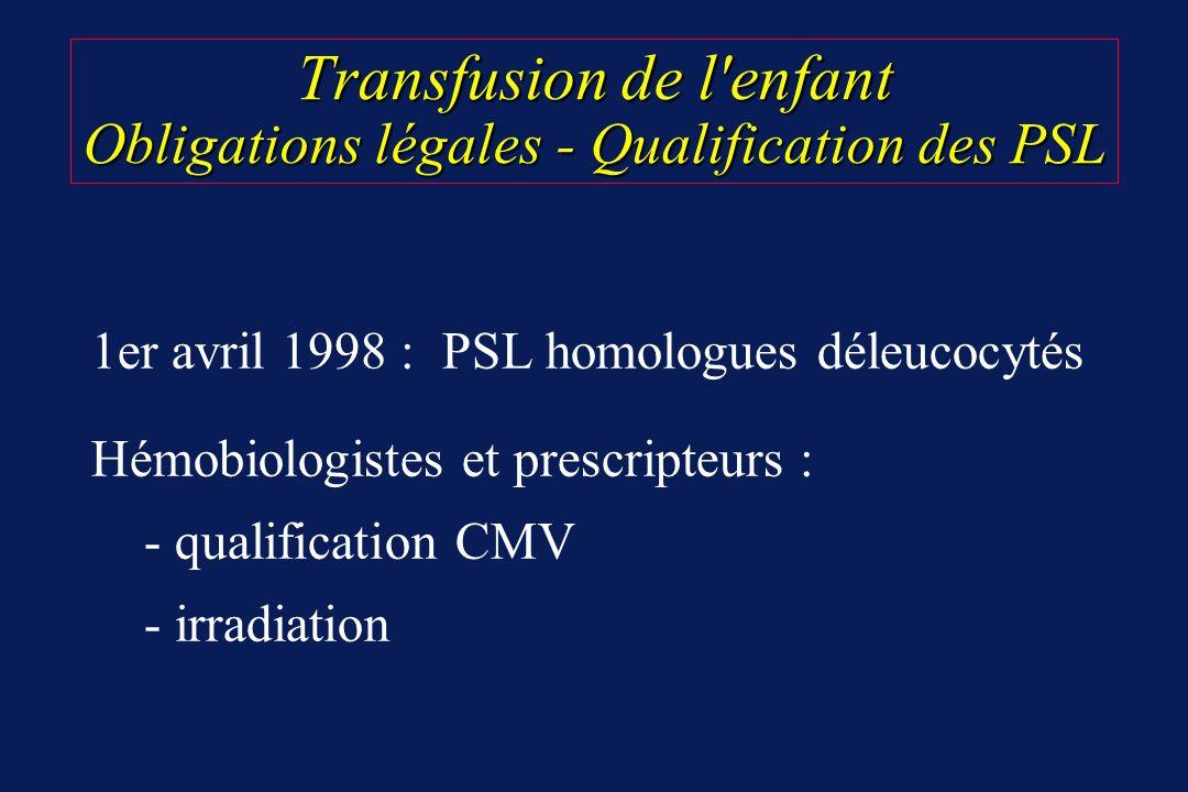 Transfusion de l'enfant Obligations légales - Qualification des PSL 1er avril 1998 : PSL homologues déleucocytés Hémobiologistes et prescripteurs : -