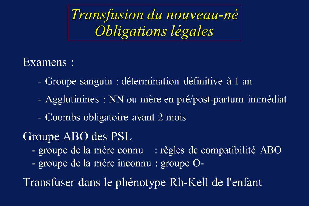 Transfusion du nouveau-né Obligations légales Examens : -Groupe sanguin : détermination définitive à 1 an -Agglutinines : NN ou mère en pré/post-partu