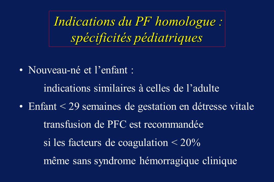 Nouveau-né et lenfant : indications similaires à celles de ladulte Enfant < 29 semaines de gestation en détresse vitale transfusion de PFC est recomma