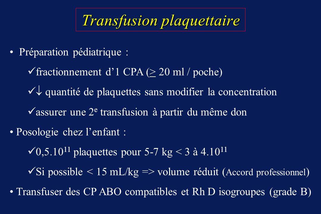 Transfusion plaquettaire Transfusion plaquettaire Préparation pédiatrique : fractionnement d1 CPA (> 20 ml / poche) quantité de plaquettes sans modifi