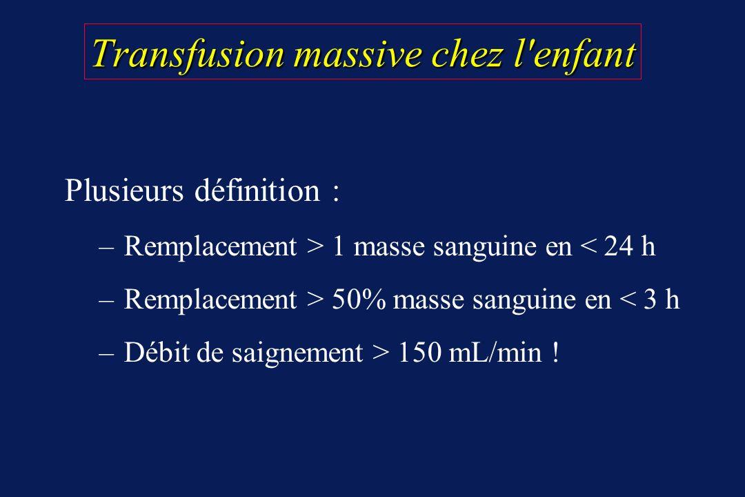 Transfusion massive chez l'enfant Plusieurs définition : – Remplacement > 1 masse sanguine en < 24 h – Remplacement > 50% masse sanguine en < 3 h – Dé