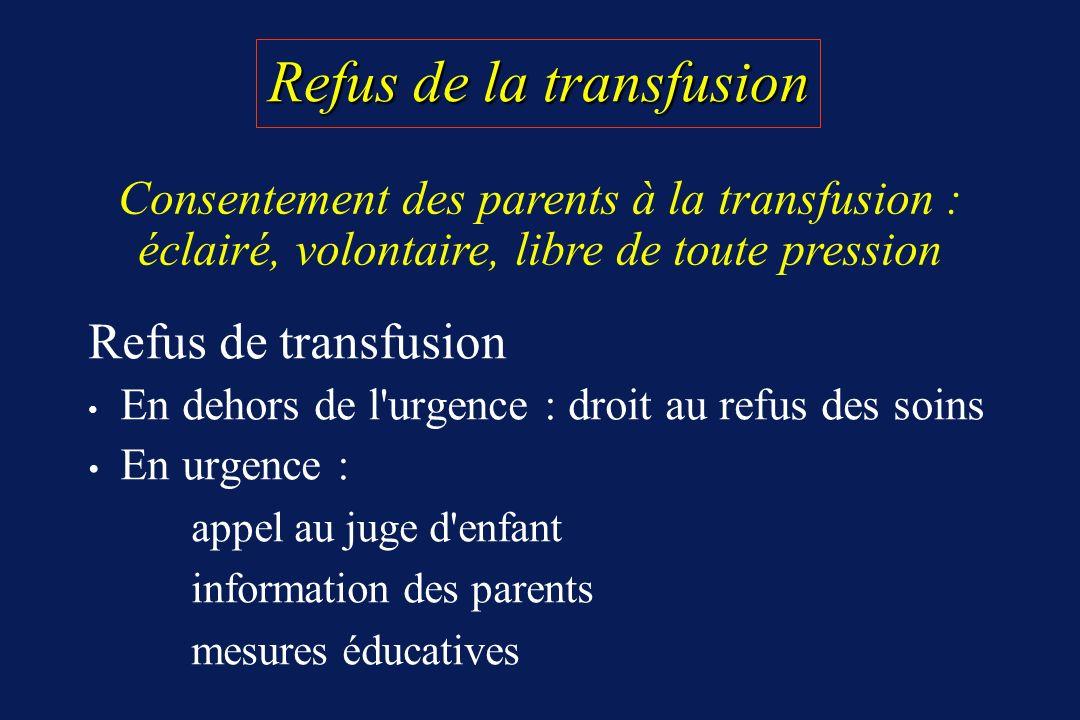 Refus de la transfusion Refus de transfusion En dehors de l'urgence : droit au refus des soins En urgence : appel au juge d'enfant information des par