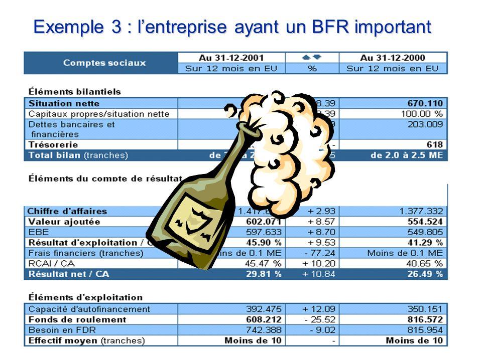 Exemple 3 : lentreprise ayant un BFR important