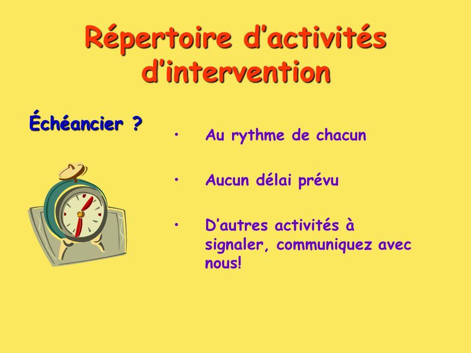 Répertoire dactivités dintervention Échéancier .