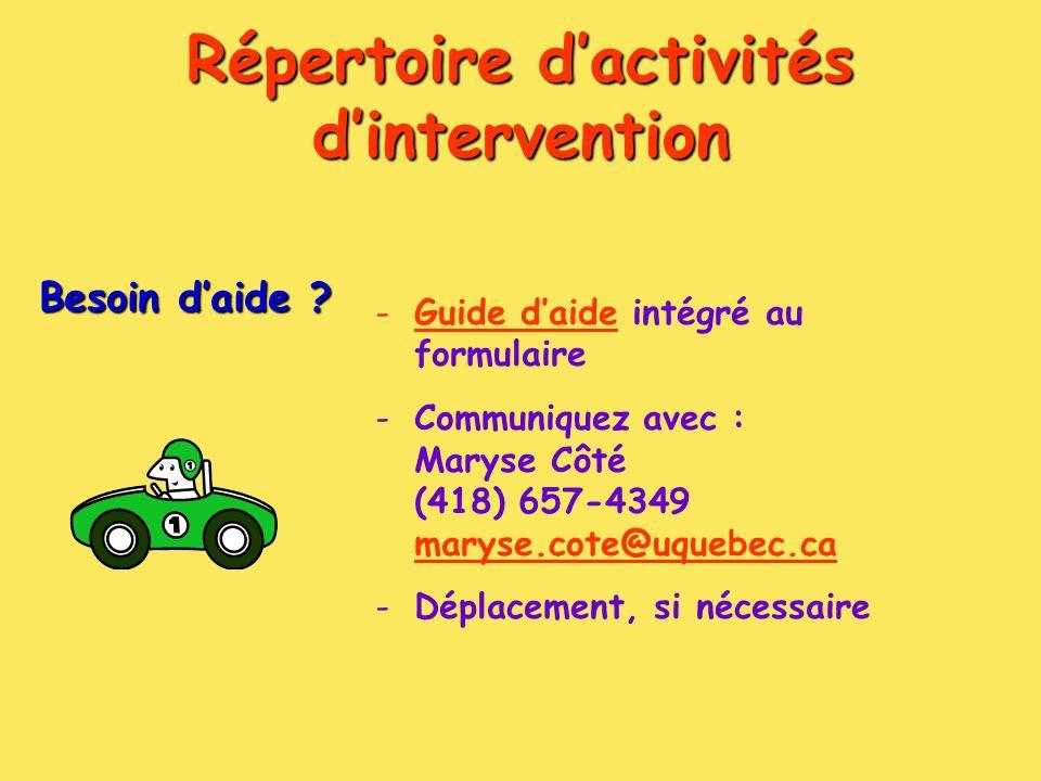 Répertoire dactivités dintervention Besoin daide .