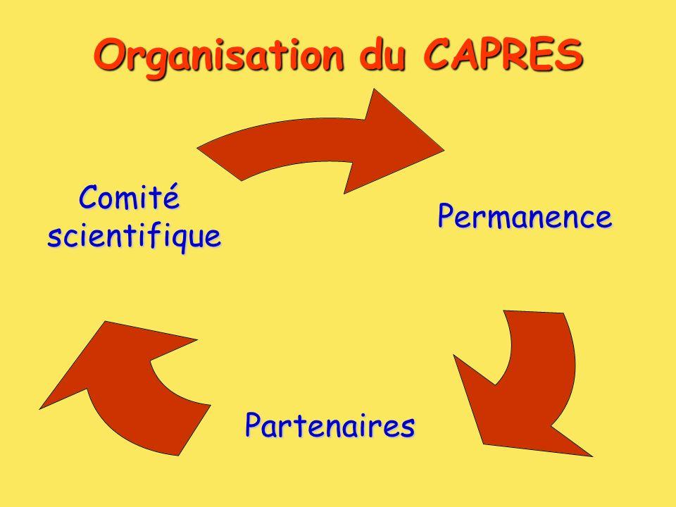 Organisation du CAPRES Permanence Partenaires Comité scientifique