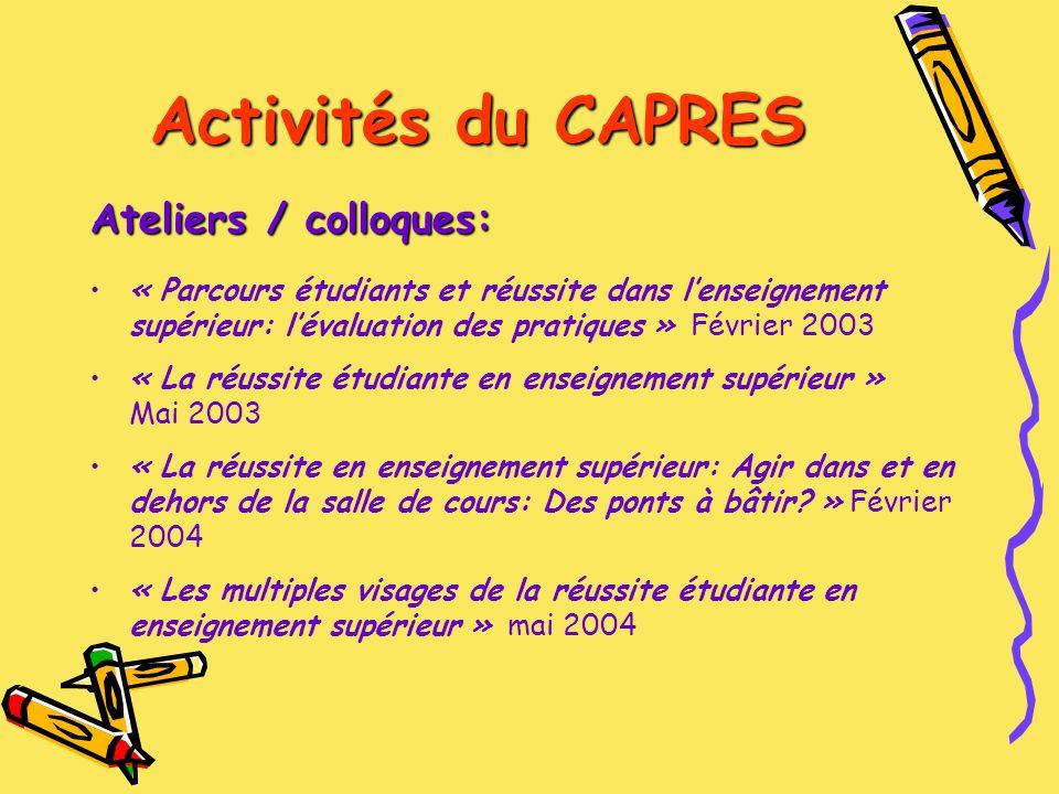 Activités du CAPRES Ateliers / colloques à venir Session de travail « Cheminements étudiants et arrimage interordres: des pistes daction » Document produit par le MEQ.