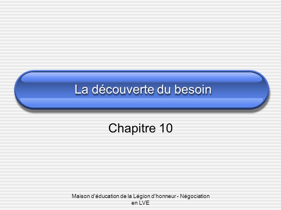 Maison d'éducation de la Légion d'honneur - Négociation en LVE La découverte du besoin Chapitre 10