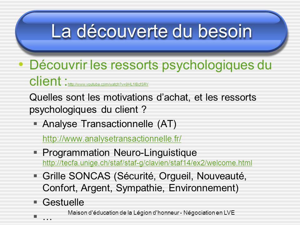 Maison d'éducation de la Légion d'honneur - Négociation en LVE La découverte du besoin Découvrir les ressorts psychologiques du client : http://www.yo