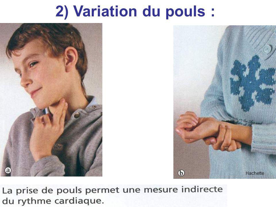 Hachette 2) Variation du pouls :
