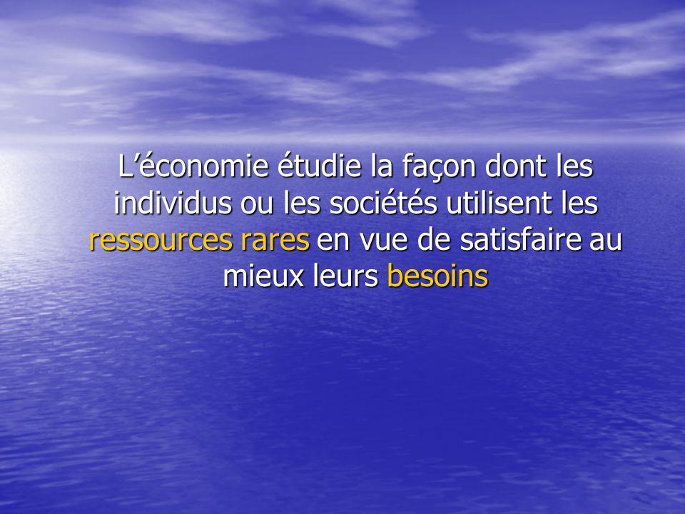 Léconomie étudie la façon dont les individus ou les sociétés utilisent les ressources rares en vue de satisfaire au mieux leurs besoins