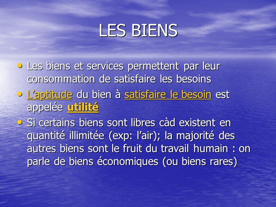 LES BIENS Les biens et services permettent par leur consommation de satisfaire les besoins Les biens et services permettent par leur consommation de s