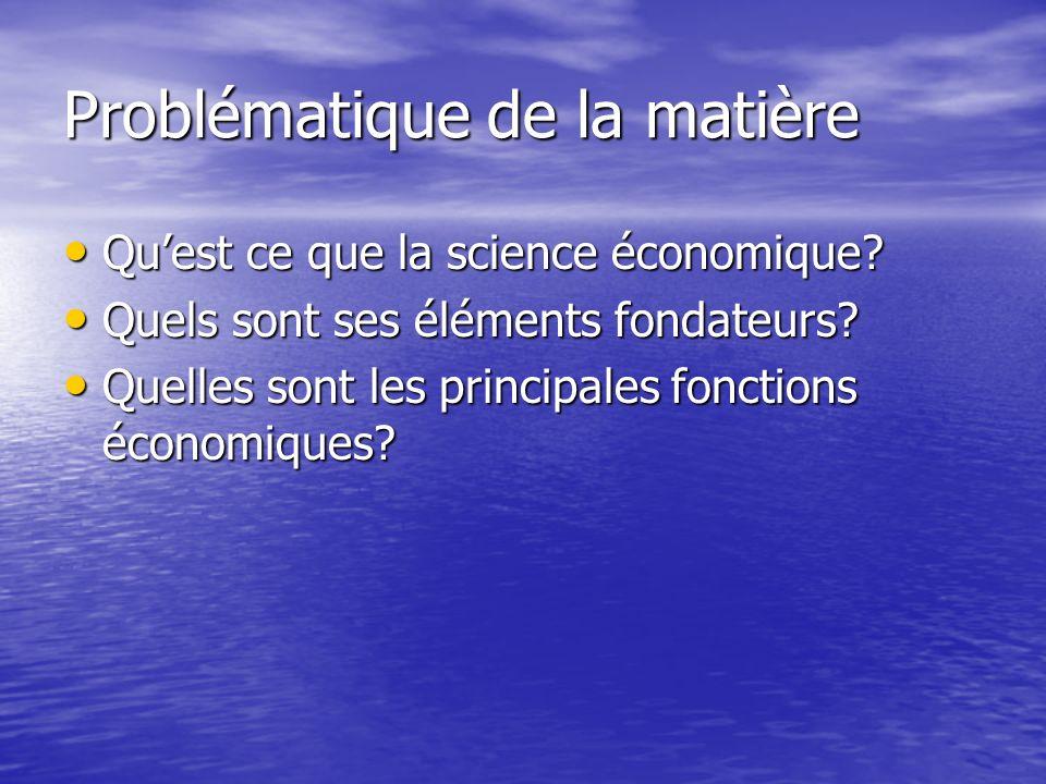 Problématique de la matière Quest ce que la science économique? Quest ce que la science économique? Quels sont ses éléments fondateurs? Quels sont ses