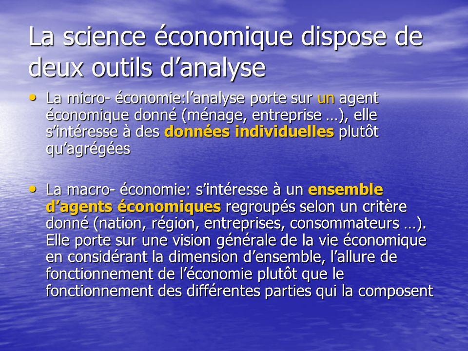 La science économique dispose de deux outils danalyse La micro- économie:lanalyse porte sur un agent économique donné (ménage, entreprise …), elle sin