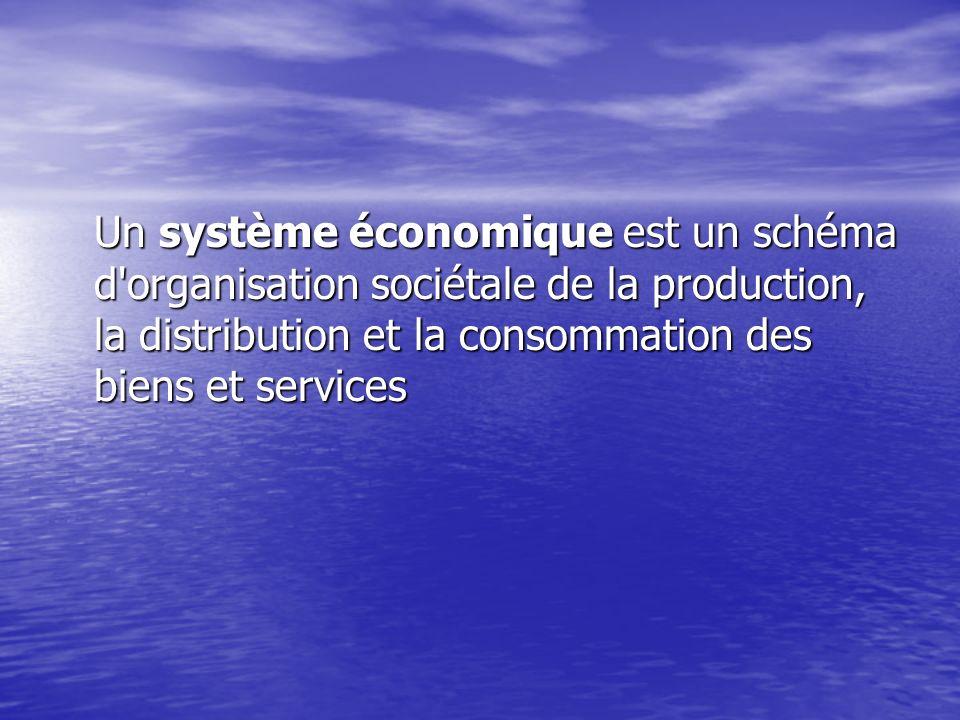 Un système économique est un schéma d'organisation sociétale de la production, la distribution et la consommation des biens et services