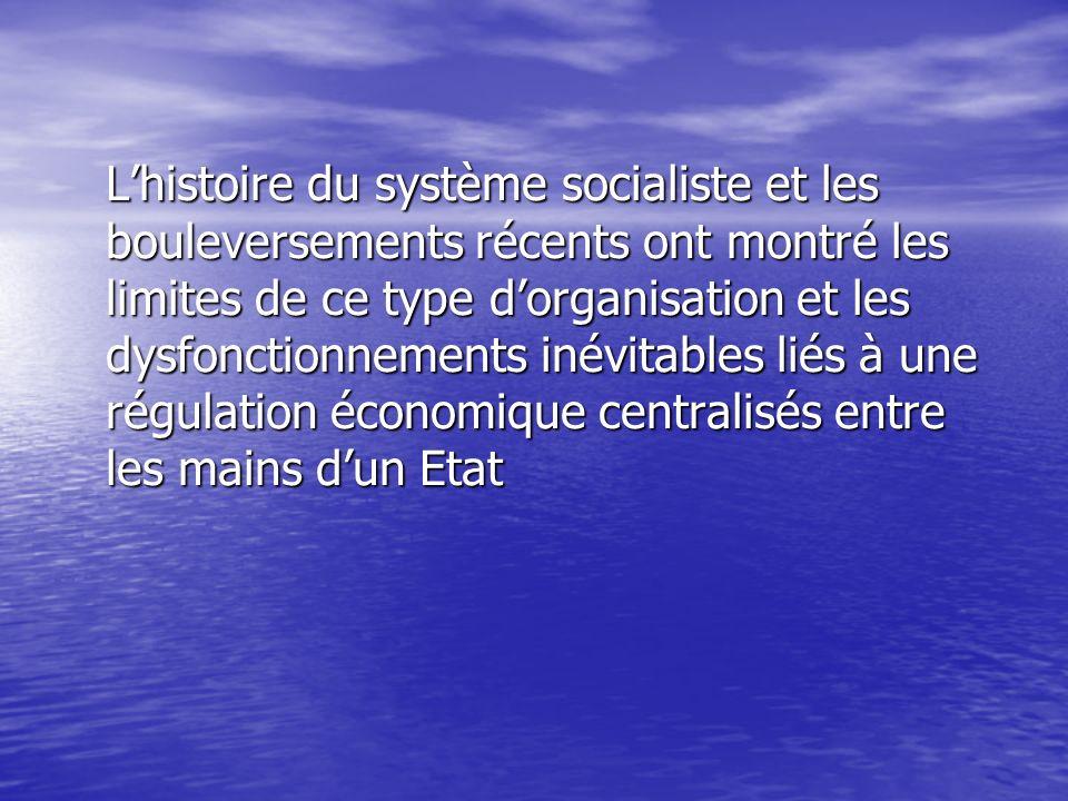 Lhistoire du système socialiste et les bouleversements récents ont montré les limites de ce type dorganisation et les dysfonctionnements inévitables l